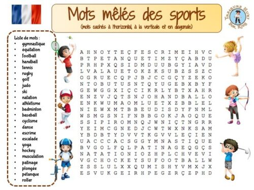 french Sports Word Search puzzle : french learning game