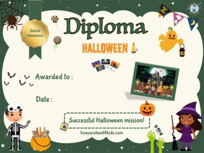 Printable and handwriting diploma of Halloween treasure hunter