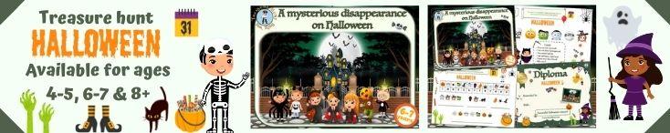 Halloween treasure hunt game for kids activity