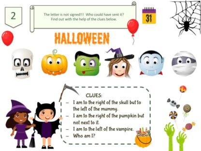 Halloween treasure hunt clue for kids aged 8 years and older