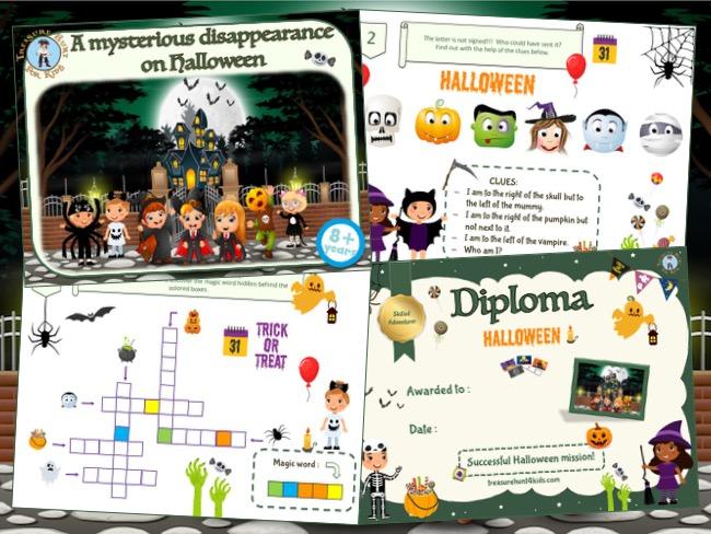 Printable adventure game of treasure hunt for Halloween