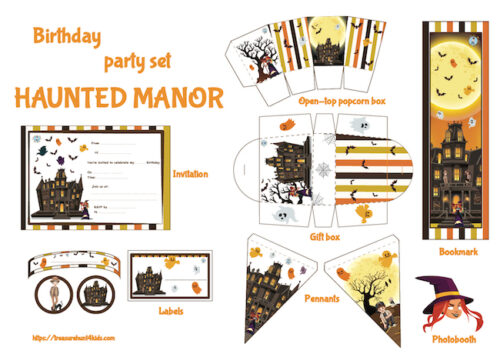 Haunted manor birthday party printables for kids