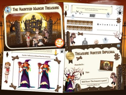Haunted manor treasure hunt game for kids aged 6-7 years