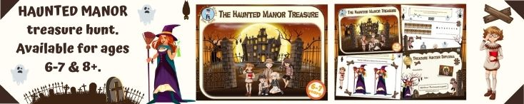 Treasure hunt game in the haunted manor for kids aged 6-7 years
