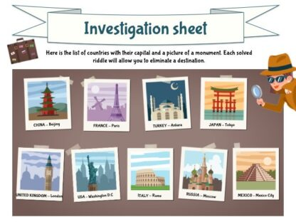 Solve this mystery game around the world with your investigation sheet