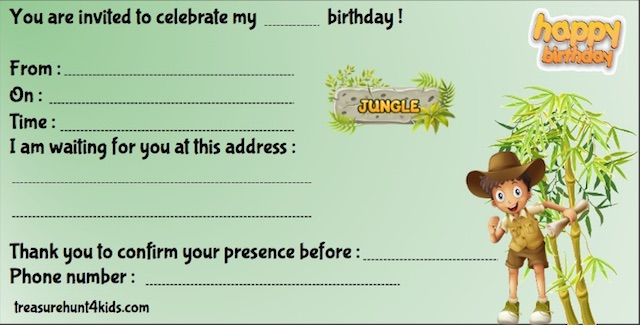 Birthday party invitation for scavenger hunt in the jungle