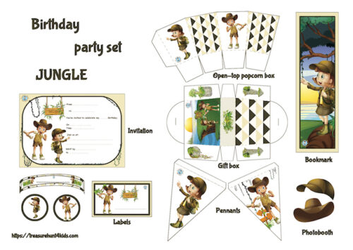 Jungle printable birthday party set for kids
