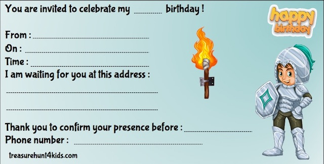 Birthday party invitations for knights-themed treasure hunt game