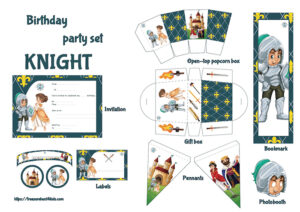 Knight birthday party set for kids to print.