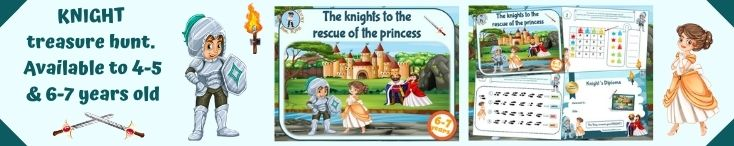 Knights themed treasure hunt game for birthday party activity