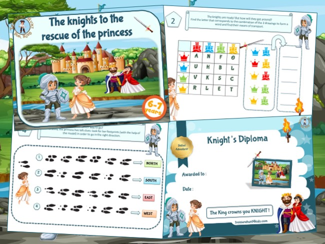 Knights treasure hunt to print for a great birthday party