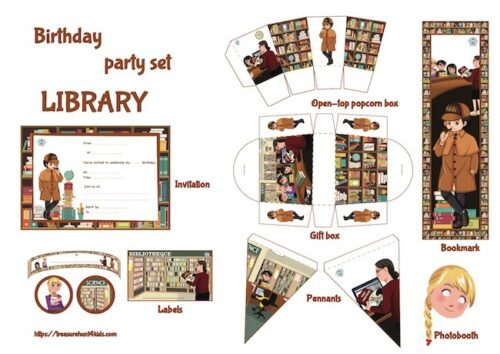 Library birthday party printables
