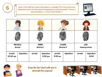 Library investigation game for kids