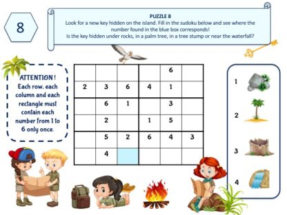 Life-size adventure game puzzle for kids