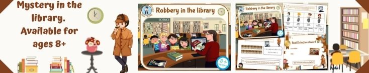 Printable detective mystery game at the library