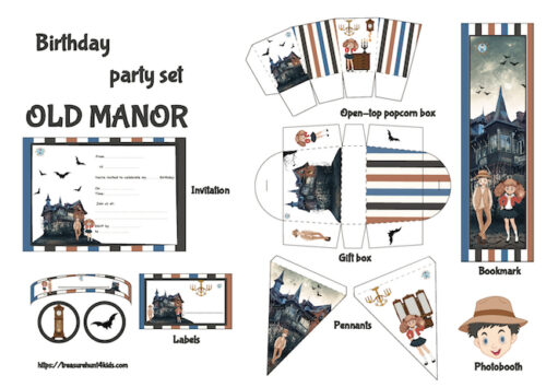 Birthday party printables to decorate your big event in the old manor