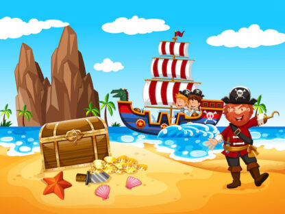 Print a pirate-themed treasure hunt to animate easily a great birthday party!