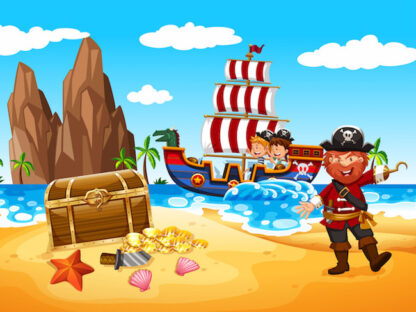 pirate-themed treasure hunt for 6-7 years old children