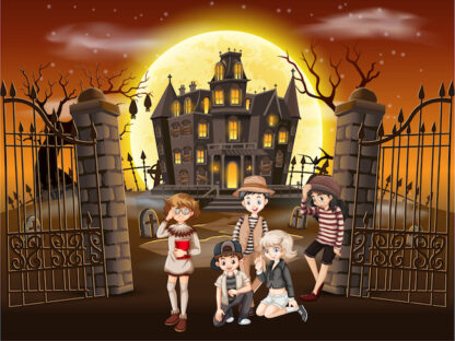 Print and play treasure hunt in a haunted manor