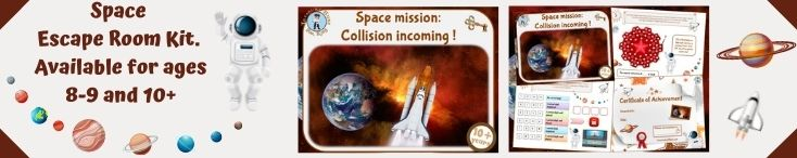 Escape game for kids to print, astronaut-themed