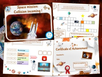 Escape room kit in space for kids to print