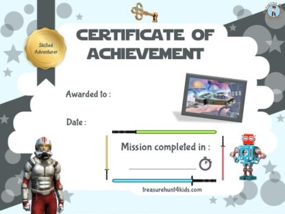 Space War home escape room certificate