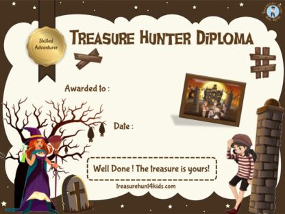 Handwriting and printable treasure hunter diploma