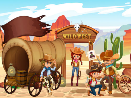 Wild West treasure hunt game for kids aged 6-7 years