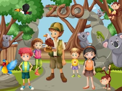 Zoo treasure hunt game to print for kids