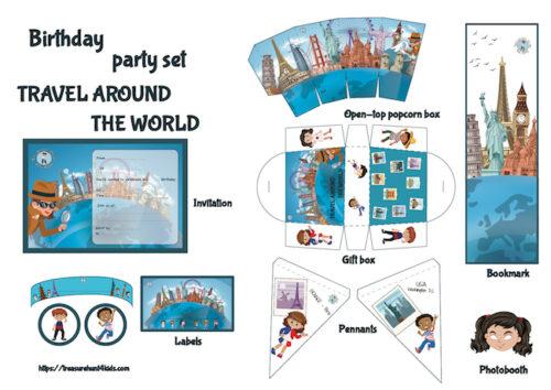 Around the world birthday party printables