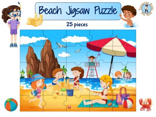 Beach jigsaw puzzle to print