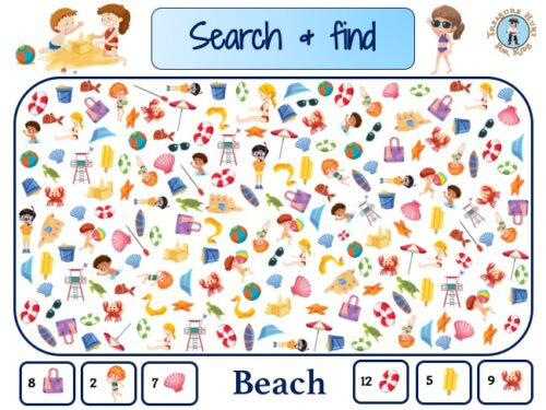 Beach search and find, I spy with my little eye