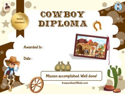 Printable cowboy certificate