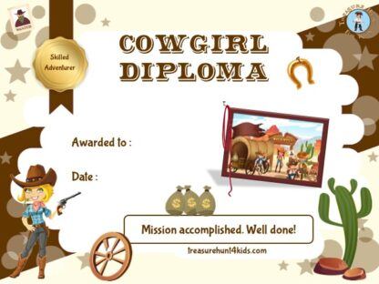 Printable cowgirl certificate