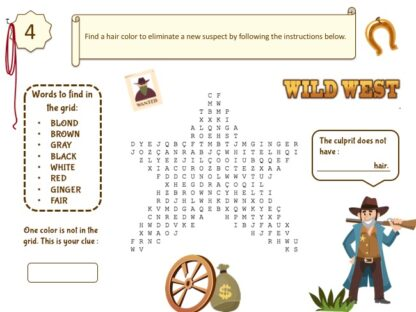 Wild West mystery game puzzle