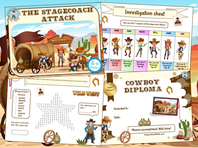 Wild West mystery party game for kids