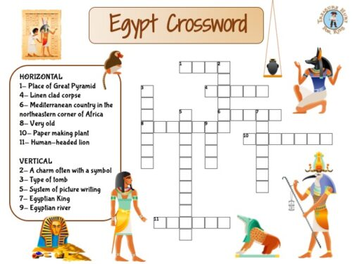 Ancient Egypt crossword puzzle for kids to print