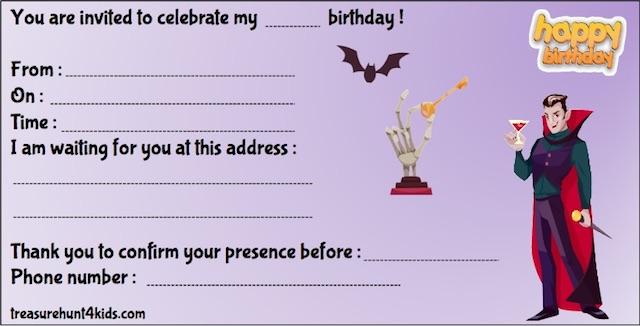 Dracula birthday party invitation