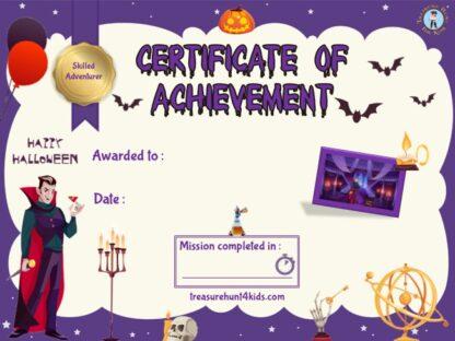 Dracula escape room certificate