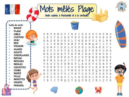 French Beach Word Search Worksheet