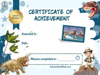 Dinosaur adventurer certificate