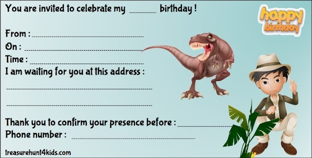 Dinosaur Island birthday party invitation