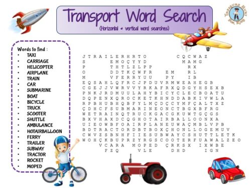 Transport Word Search for kids to print