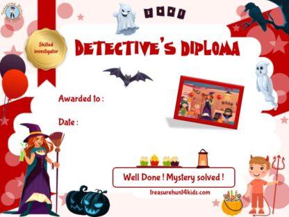 Halloween certificate to print