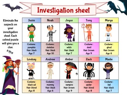Halloween investigation game to print for kids