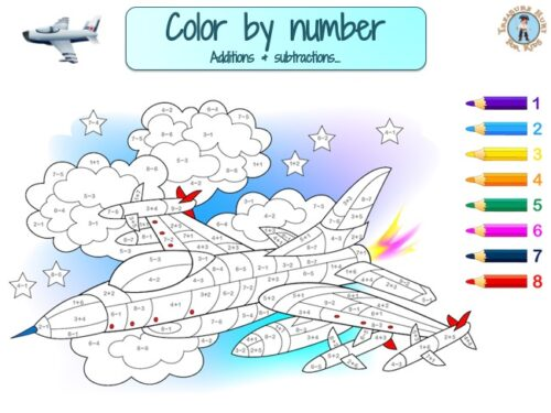 Plane color by number