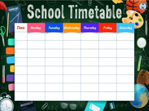 School timetable template to print