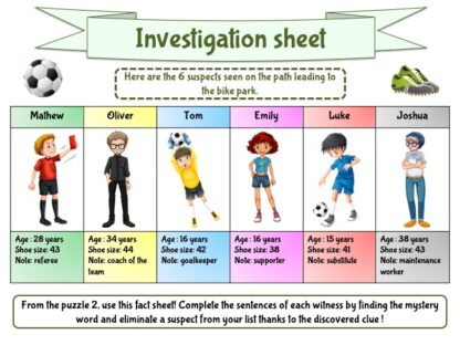 Soccer investigation sheet for young detectives