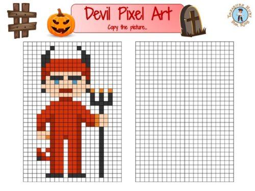 Devil pixel art to print for free